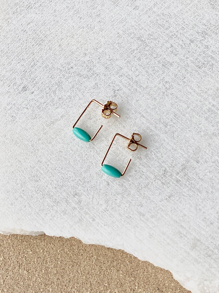 Lisa Slodki - Turquoise + Gold Rectangle Earrings