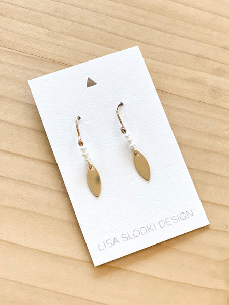 Lisa Slodki - GF Leaf Pearl Earrings