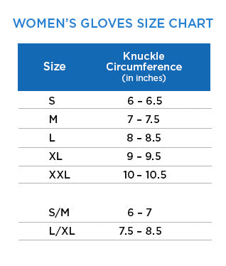 Women's Gloves Size Chart