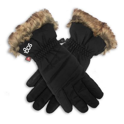 Down Fur Glove Women Black