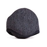 Wool Ear Warmer Men Navy Herringbone