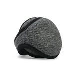 Wool Ear Warmer Men Gray / Black Herringbone