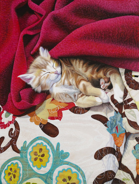 Small kitten asleep on a bed dreaming oil painting printed on canvas