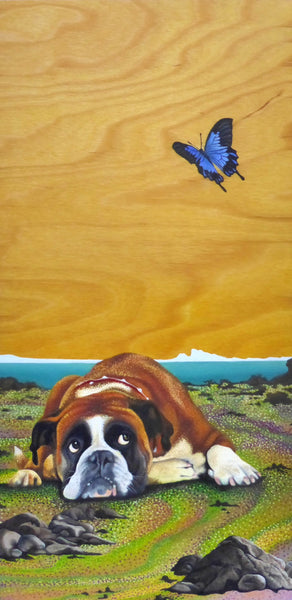 Dog named max watching a butterfly oil painting printed on canvas