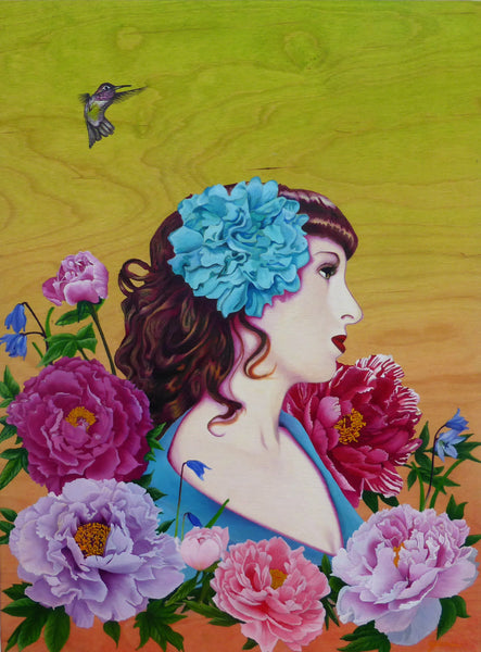 Girl surrounded by peonies flowers and a humming bird oil painting printed on canvas