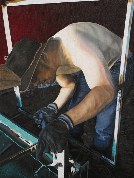 Topless man wearing a hat and gloves working on a trailer oilpainting printed on canvas