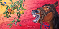 Horse reaching for an apple to eat oilpainting printed on canvas