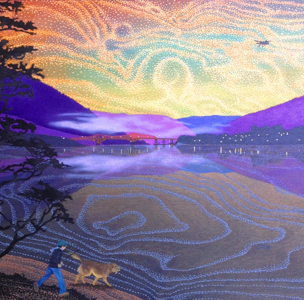 boy walking with his dog on the beach at dusk in Nelson BC oil painting printed on canvas