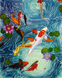 Koi fish swimming in a pond oil painting printed on canvas
