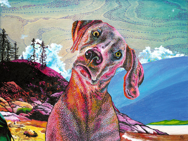 Colurful dog at the beach oil painting printed on canvas