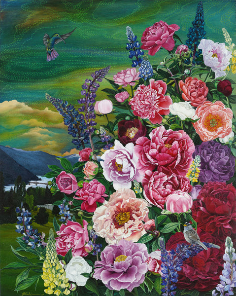 Colurful painting of flowers and hummingbird