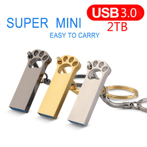 Dog Foot USB 3.0 2.0 Metal Mini Usb Flash Drive 2TB Pendrive