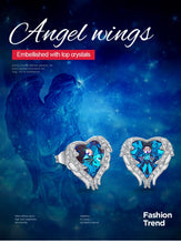 Load image into Gallery viewer, Heart Angel Wing Crystals Earrings
