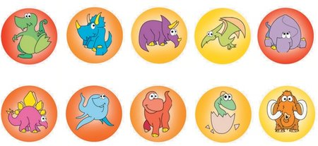Dinosaur Dots - Dynamic Dots and Stars Stickers