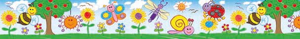 Kid Drawn Bugs and Flowers - Large Border
