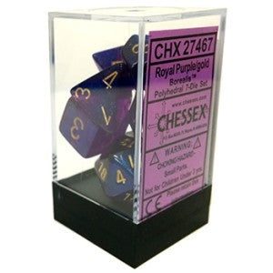 Borealis No2 Royal Purple-Gold 7-Dice Set