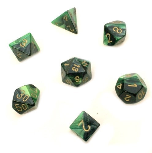 Gemini Black-Green-Gold 7-Dice Set