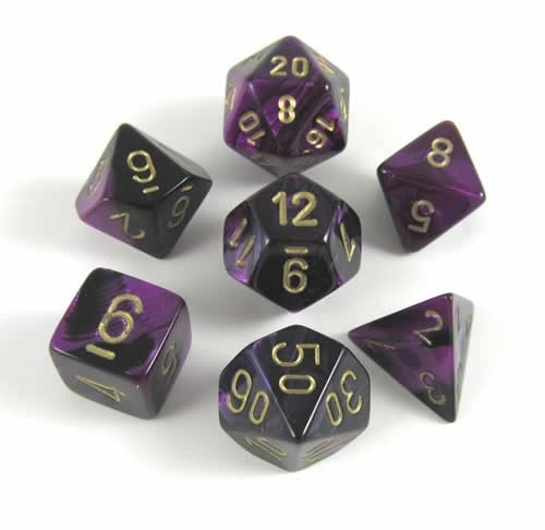 Gemini Black-Purple-Gold 7-Dice Set