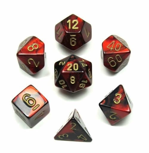 Gemini Black-Red-Gold 7-Dice Set