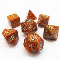 Glitter Gold-Silver 7-Dice Set