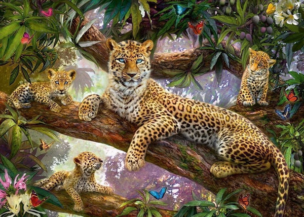Leopard Family Puzzle - 1000pc