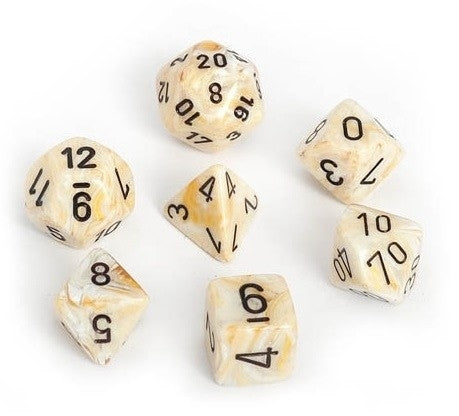 Marble Ivory-Black 7-Dice Set