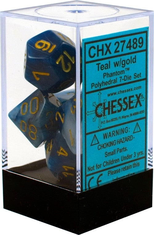 Phantom Teal-Gold 7-Dice Set