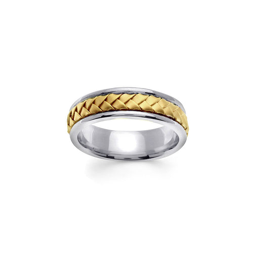14K Yellow Gold Braid Men's Wedding Band Handmade 7mm