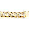 14k Solid Yellow Gold Nugget Cuban Curb Link Chain Mens Bracelet 17MM 9 Inch William Francis