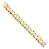 14k Solid Yellow Gold Nugget Cuban Curb Link Chain Mens Bracelet 17MM 9 Inches