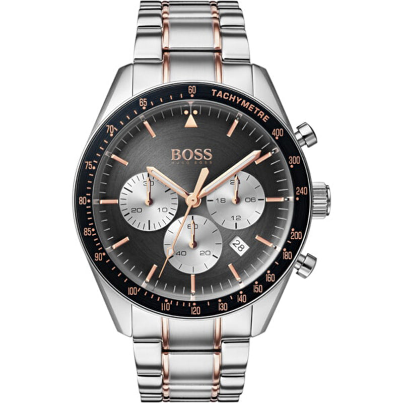Hugo Boss Mens 'Trophy' Watch Grey Chronograph Dial Stainless Steel - 1513634