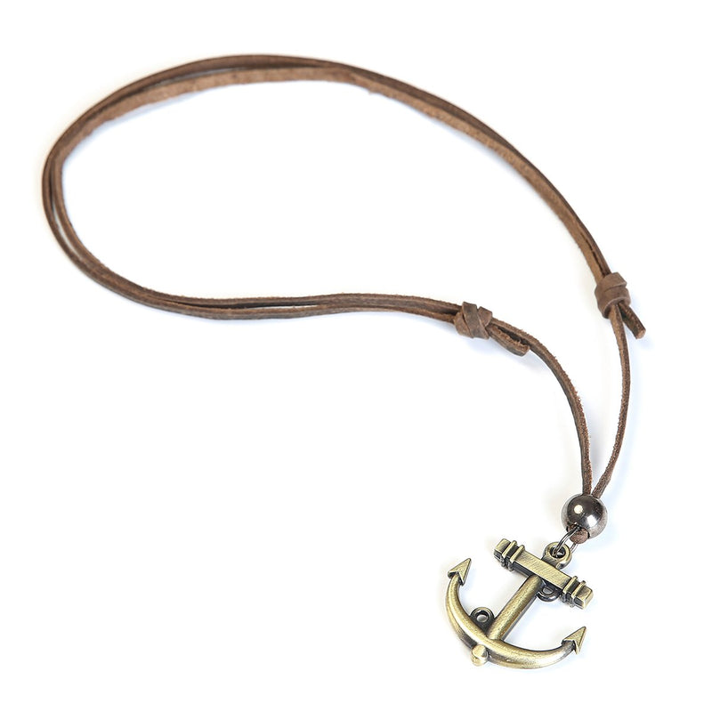 Mad Man Men's Leather Ahoy Anchor Necklace