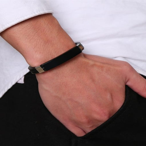 Access-Granted-Jewelry-Stainless-Steel-With-Platinum-Plated-Simplistic-Fringe-Braided-Mens-Leather-Bracelets-1000037320-2