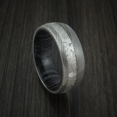 William Francis Custom Damascus Steel Ring with Hardwood Interior Sleeve 6mm Width