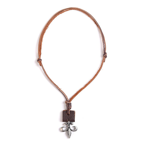 William Francis Fleur De Lis Adjustable French Quarter Leather Necklace