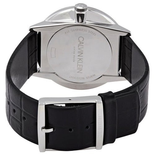 Calvin Klein Accent Quartz Black Dial Black Leather Men's Watch K2Y211C3