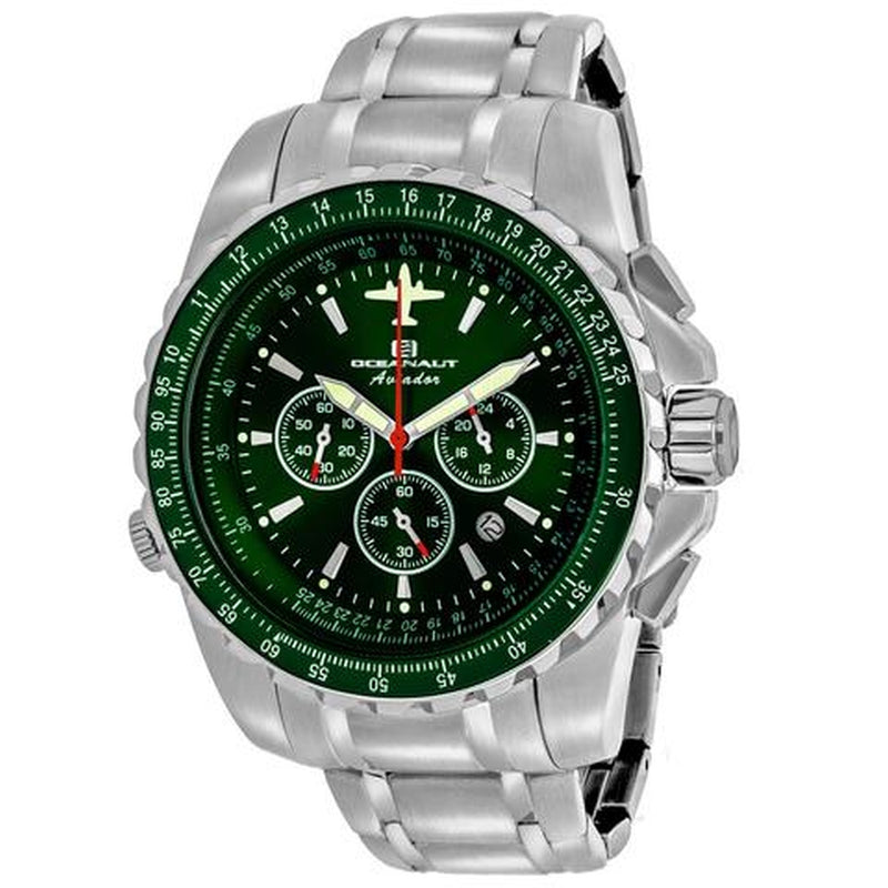Oceanaut Aviador Pilot Men's 45mm Quartz Green Dial Stainless Steel Watch OC0117