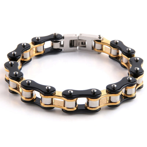 William Francis Mens Motorcycle Chain Bracelet in Stainless Steel