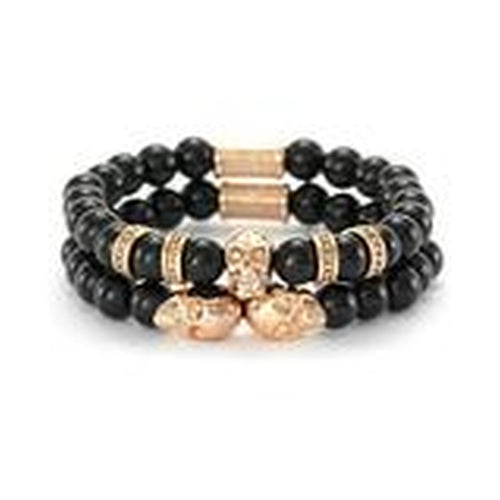 Skeleton HD His & Hers Couples Black Box Set features the Skulls for Her, & Phantom Stack Men's Bracelets in 7.5 Inch and 8.5 Inches