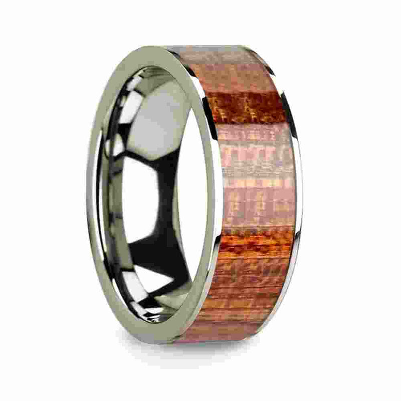 Thorsten 14k White Gold & Mahogany Wood Inlaid Men's Wedding Band with Polished Finish-8mm