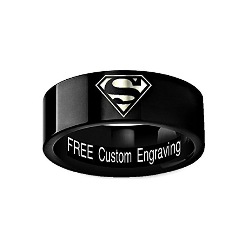 Superman-Hero-Symbol-Mens-Black-Wedding-Band-Tungsten-Custom-Engraved-Ring-8mm