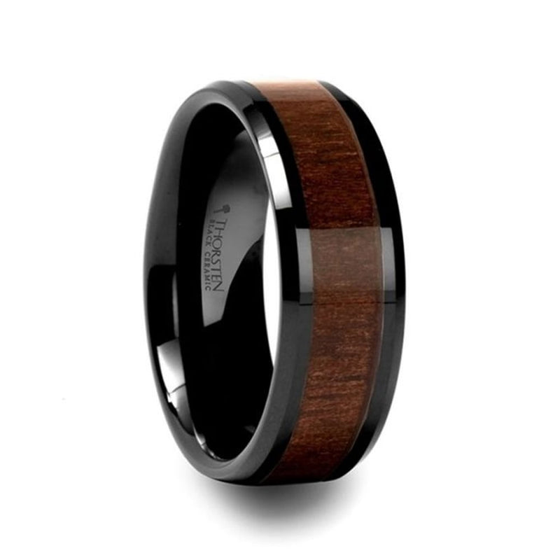 YUKON-Black-Ceramic-Mens-Ring-Walnut-Wood-Inlay-4mm-12mm