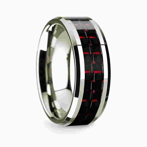 14k White Gold Polished Beveled Edges Wedding Ring with Black and Red Carbon Fiber Inlay 8mm