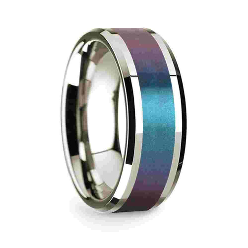 14k White Gold Mens Wedding Band Polished Beveled Edges Wedding Ring with Blue and Purple Color Changing Inlay-8mm