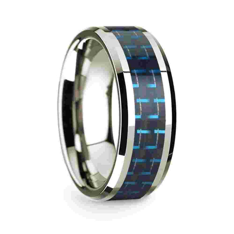 Thorsten 14k White Gold Polished Beveled Edges Wedding Ring with Black and Dark Blue Carbon Fiber Inlay-8mm