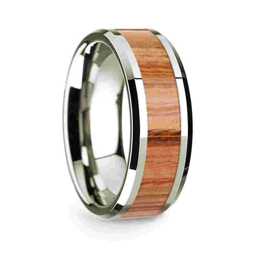 14k White Gold Mens Wedding Band Polished Beveled Edges Wedding Ring with Red Oak Wood Inlay 8mm