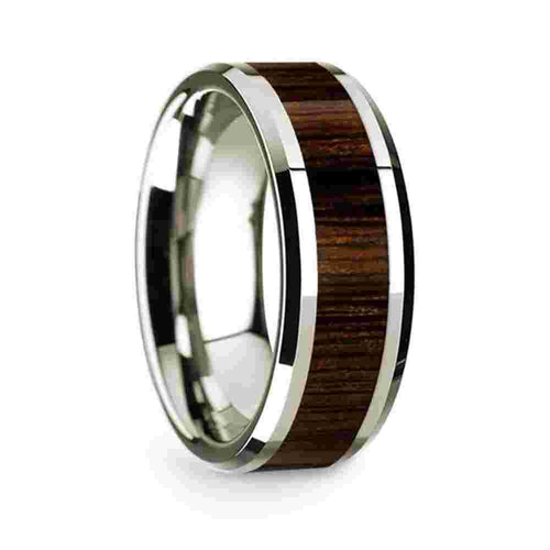 14k White Gold Mens Wedding Band Polished Beveled Edges Wedding Ring with Black Walnut Inlay-8mm