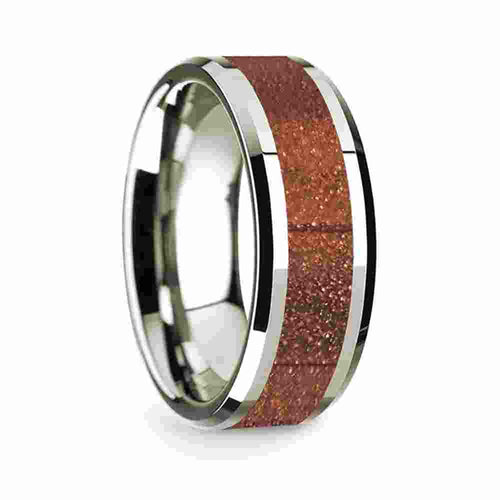 14k White Gold Mens Wedding Band Polished Beveled Edges Wedding Ring with Orange Goldstone Inlay 8mm