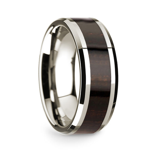 14k White Gold Mens Wedding Band Polished Beveled Edges Wedding Ring with Ebony Wood Inlay 8mm