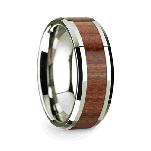 14k White Gold Mens Wedding Band Polished Beveled Edges Wedding Ring with Rosewood Inlay 8mm